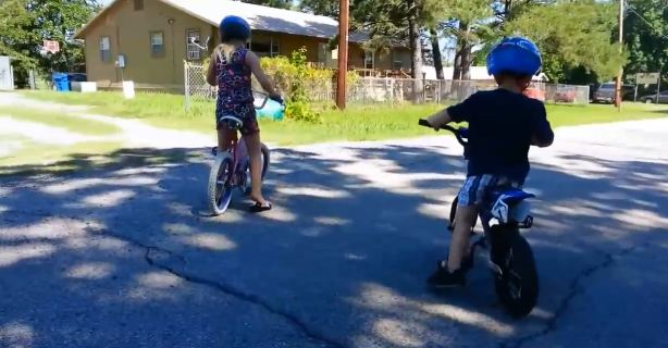 kids ride bicycle