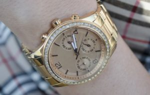 An elegant gold wrist watch