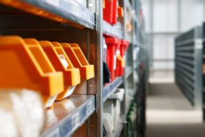 shelves in a storage facility
