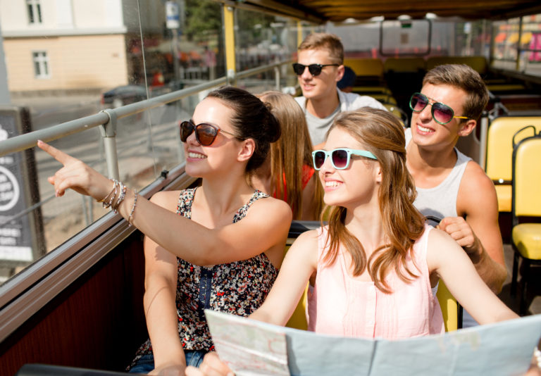 Tourists wearing sunglasses