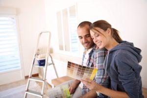 A couple is deciding on new floor colors