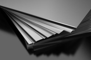 A stack of stainless steel sheets