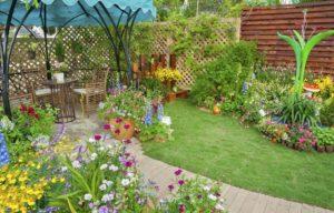 a patio in a garden