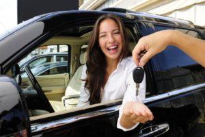 Woman Renting a Car
