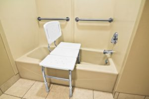 bathing chair with grab bars