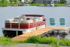 Pontoon Boat tied on the docks
