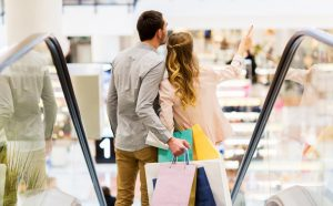Couple in a mall with shopping bags