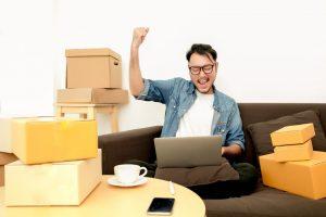 a man doing online shopping