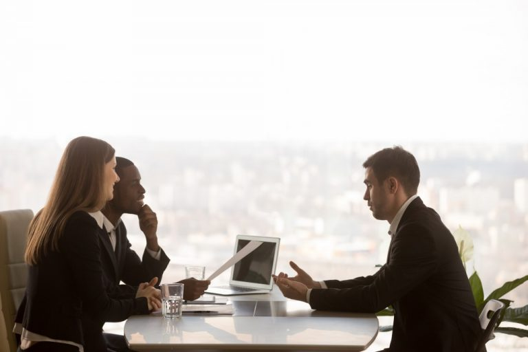 HR managers interviewing an applicant