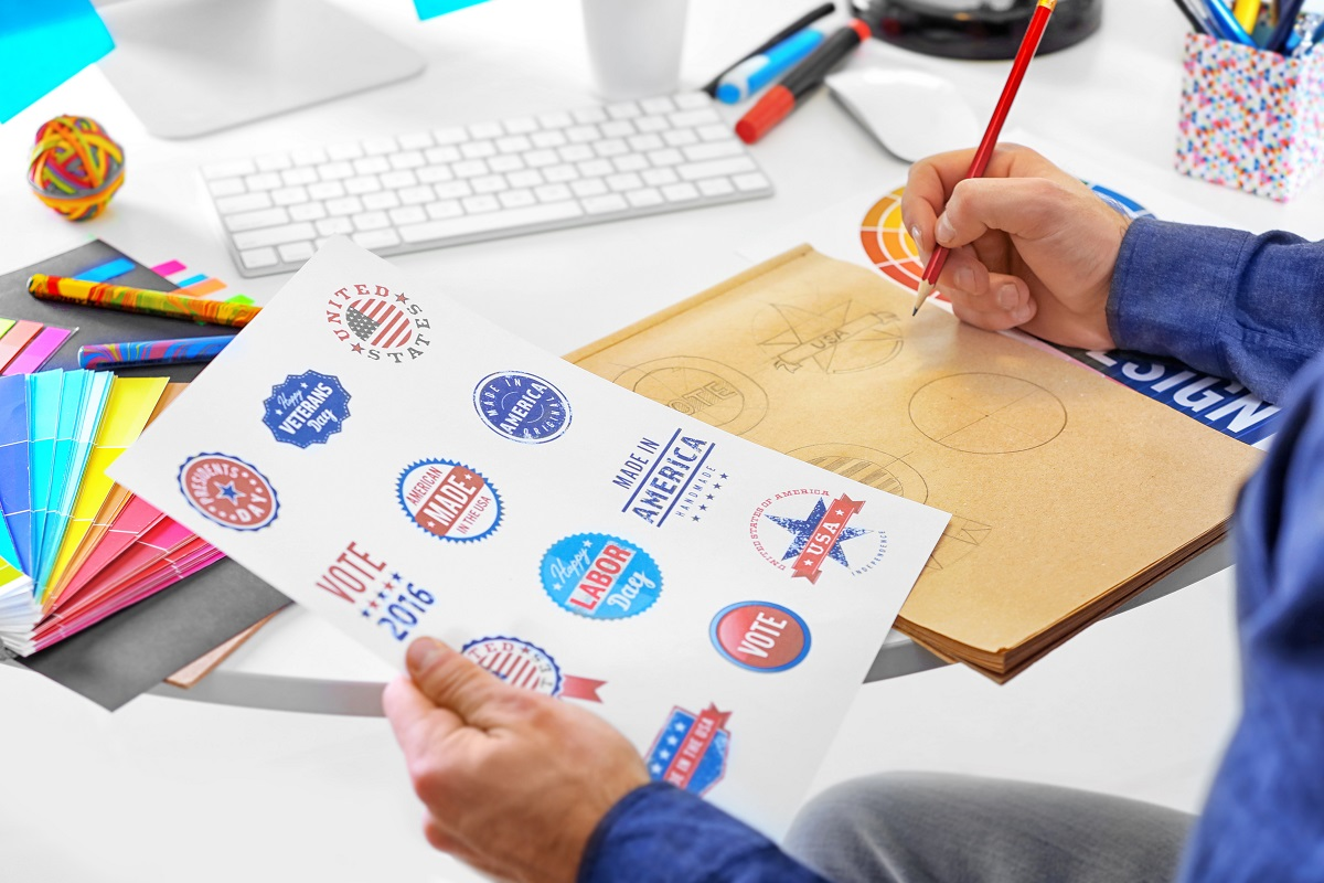 Designer drawing logos