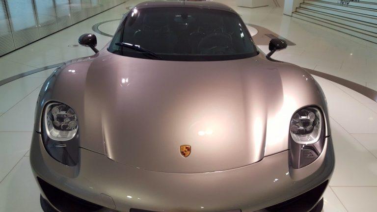 Silver Porsche in the showroom