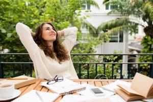 Female writer relaxing
