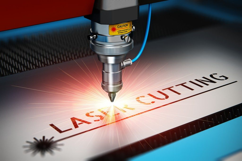 Laser engraving machine being used