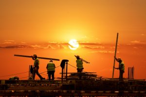 Construction site in sunset
