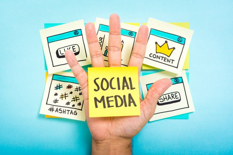 social media written in a sticky note with icon background