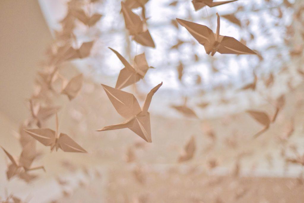 white crane origami