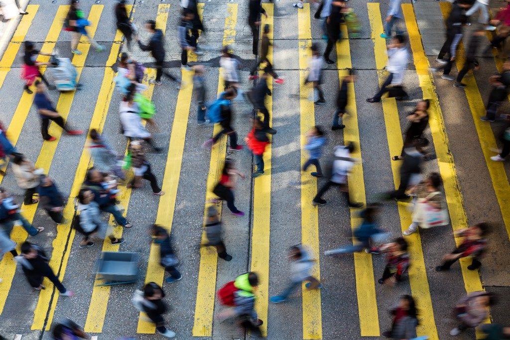 busy street people crossing