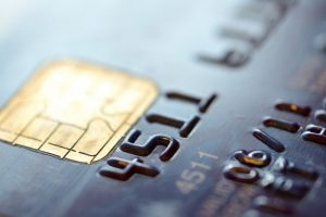 macro shot of credit card