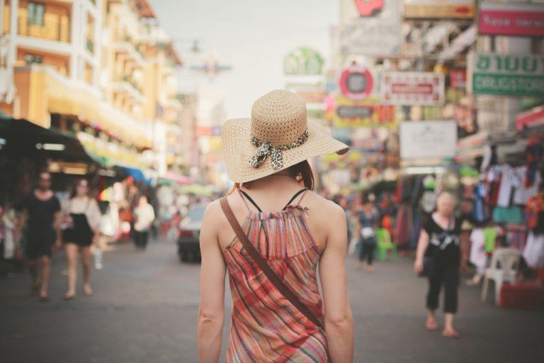 Woman walking along the streets