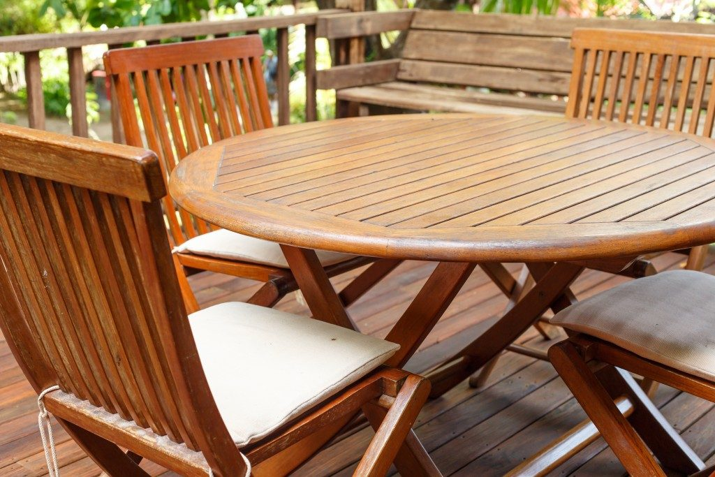 wooden deck with furniture