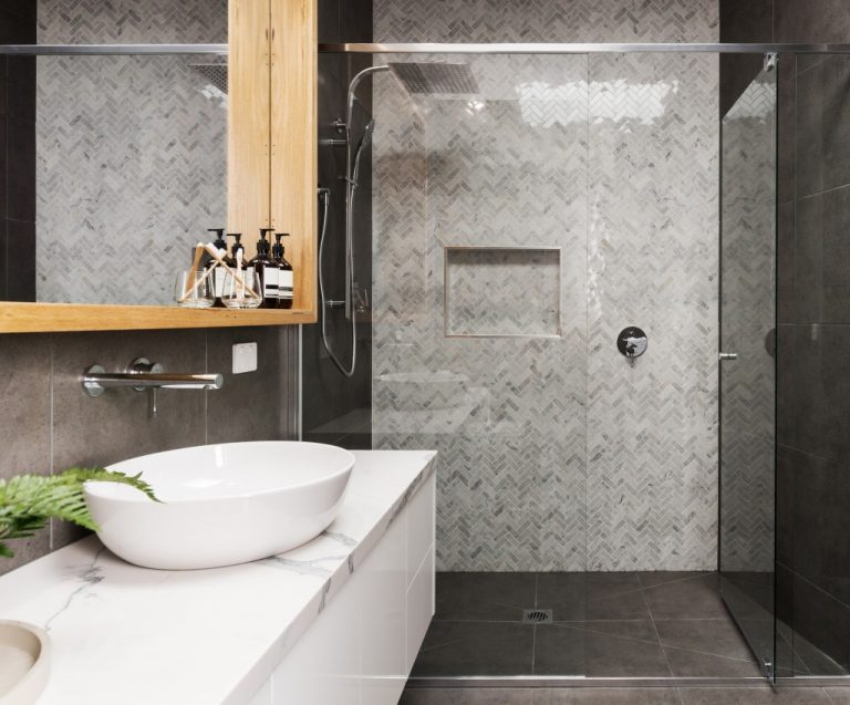 Modern bathroom with shower and sink