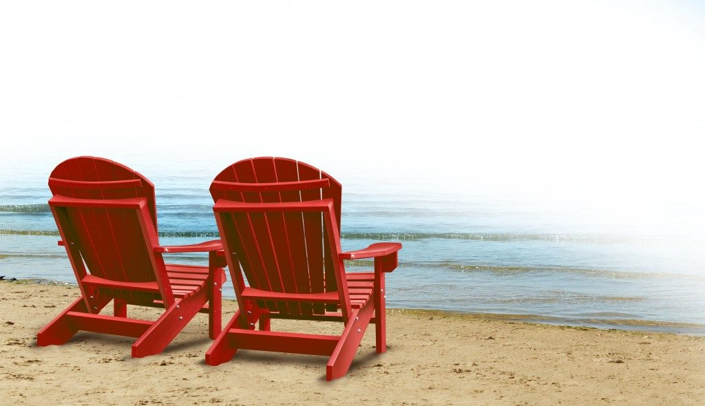 chairs on a tropical sandy beach