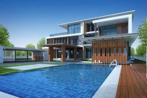 modern home with outdoor pool