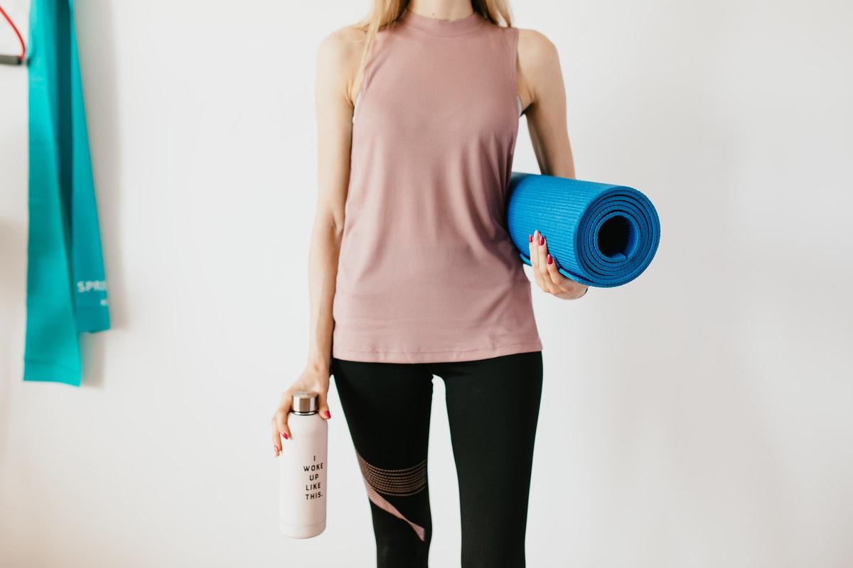 activewear and yoga mat